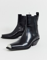 Asos DESIGN Ambition premium metal toe western ankle boots in black leather
