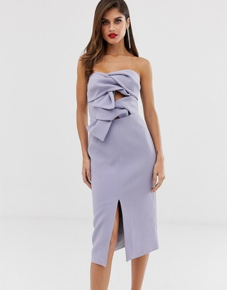 True Decadence premium double bow front midi dress with keyhole detail in soft lavender