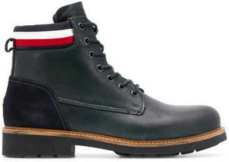 Tommy Hilfiger fabric mix boots