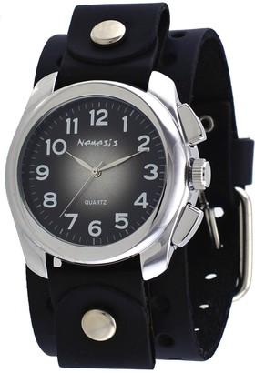 Nemesis #BN091K Men's Wide Black Leather Cuff Band Sunburst Black Dial Watch
