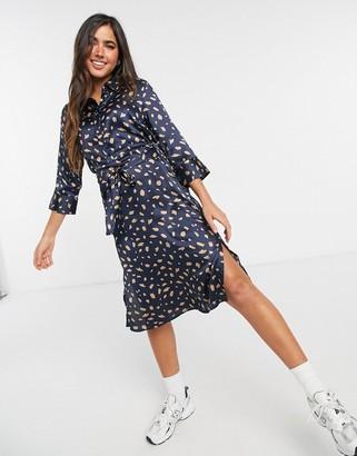 JDY printed shirt dress in blue