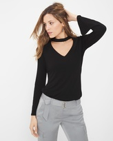 White House Black Market Long-Sleeve Choker Top