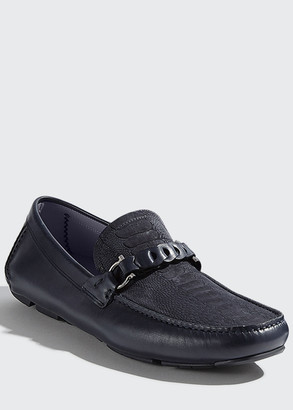 Salvatore Ferragamo Stuart 3 Croc-Embossed Leather Drivers
