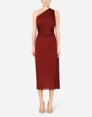 Dolce & Gabbana One Shoulder Longuette Dress In Jersey Organzine