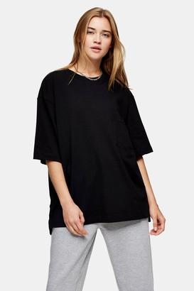 Topman Womens Considered Black Boxy Pocket Organic Cotton T-Shirt - Black