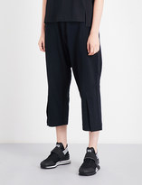 Y-3 Y3 Wide cropped mid-rise jersey trousers