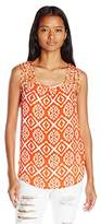 My Michelle Juniors Printed Sleeveless Blouse with Lattice Detail