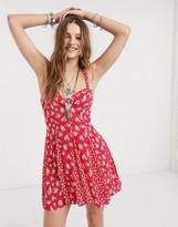 Free People dont dare mixed print mini dress in red