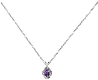 "Sterling Gemstone & Diamond Pendant with 18"" Chain"