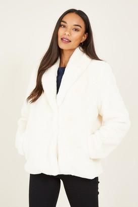 Yumi White Faux Fur Coat