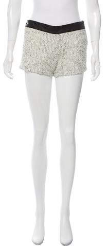 Roseanna Leather-Trimmed Tweed Shorts