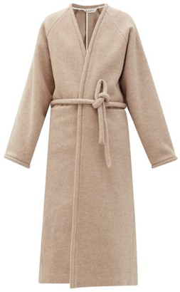 Kassl Editions V-neck Wrapped Felted-wool Blend Coat - Beige