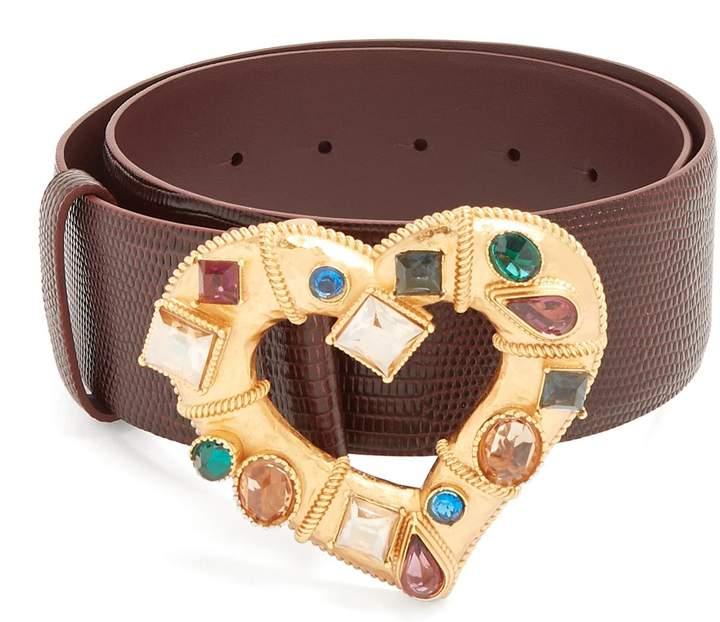 Dolce & Gabbana Crystal-embellished heart-buckle leather belt