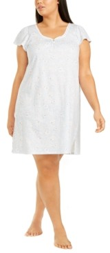 Miss Elaine Plus Size Printed Silky Knit Nightgown