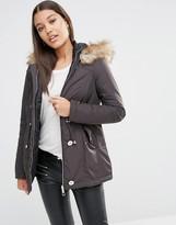 Lipsy Michelle Keegan Loves Reverse Faux Fur Trim Parka