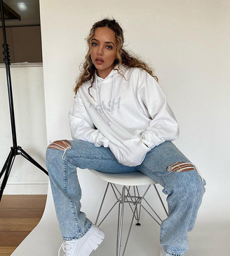 Skinnydip Curve x Jade Thirlwall relaxed hoodie with trash diamante slogan