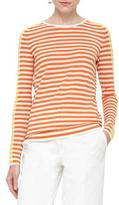 Akris Punto Striped Crewneck Pullover Sweater, Cream/Marigold/Sun