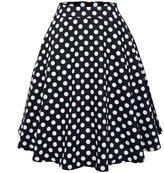 Ruiyige Women's High Waist Floral/Polka Dots Print Pleated Skirt Midi Skater Skirt S