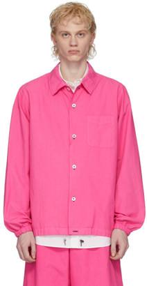 Fumito Ganryu Pink Silk Coach Shirt Jacket