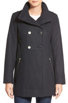 GUESS Double Breasted Wool Blend Swing Coat (Petite)