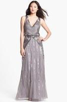 Aidan Mattox Embellished Mesh Blouson Gown