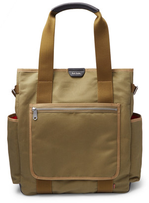 Paul Smith Webbing And Leather-Trimmed Cotton-Canvas Tote Bag