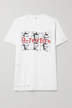 R13 - Mona Lisa Boy Distressed Printed Cotton-jersey T-shirt - White