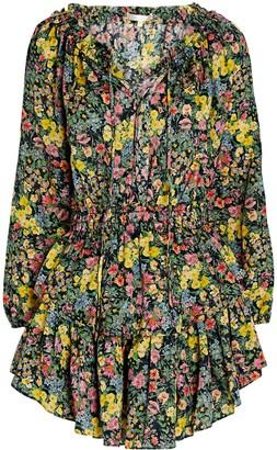 LoveShackFancy Floral Silk-Cotton Mini Dress