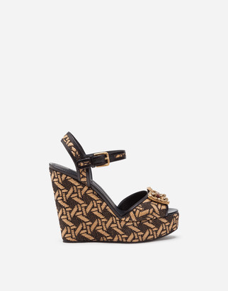 Dolce & Gabbana Braided Raffia Wedge Sandals With Amore Logo
