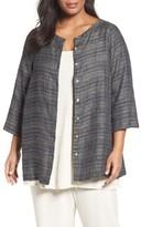 Eileen Fisher Plus Size Women's Coastline Organic Linen Round Neck Jacket