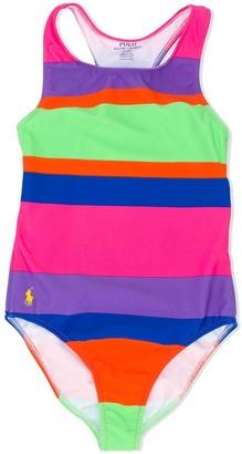 Ralph Lauren Kids Striped Racer-Back Swimsuit