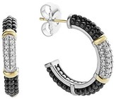 Lagos Black Caviar Ceramic 18K Gold and Sterling Silver 3 Station Hoop Earrings with Diamonds