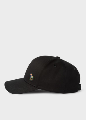 Paul Smith Men's Black Cotton Zebra Logo Baseball Cap