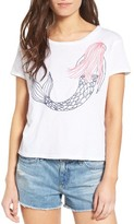 Sundry Women's Mermaid Embroidered Crop Tee