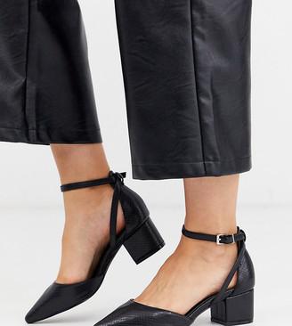 Raid Wide Fit RAID Wide Fit Hazy mid heeled shoes in black snake