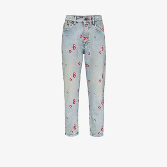 Miu Miu Embroidered Floral Tapered Jeans