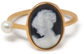 Vintouch Italy Rose Gold-Plated Black Mini Cameo & Pearl Ring