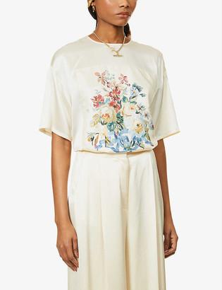 Max Mara Nirvana floral-print silk-twill top