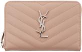 Saint Laurent Pink Small Monogram Zip Around Wallet