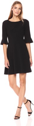 Tahari by Arthur S. Levine Women's Black Bell Sleeve Bi Stretch Dress 2
