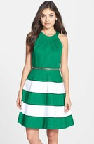 Eliza J Women's Stripe Skirt Cotton Sateen Fit & Flare Dress