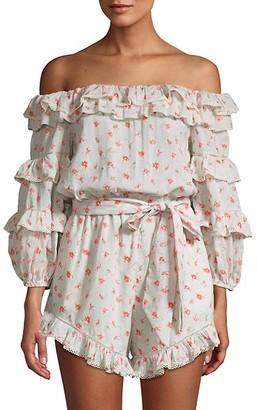 Love Sam Printed Off-The-Shoulder Cotton Romper
