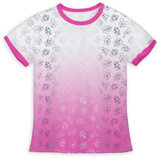 Disney Mickey Mouse and Friends Allover Dip-Dye Ringer T-Shirt for Girls
