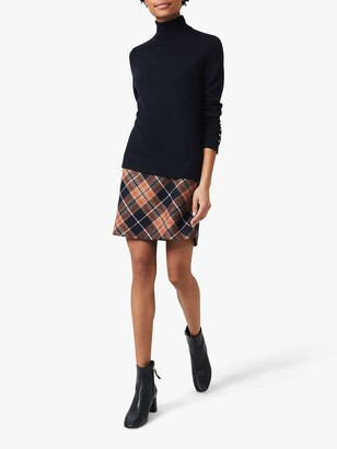 Hobbs Elea Check Wool Mini Skirt, Camel