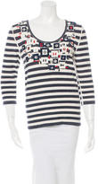 Oscar de la Renta Embellished Striped Sweater