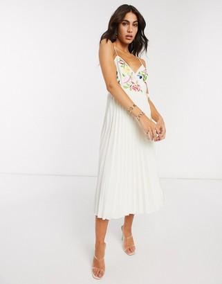 ASOS DESIGN embroidered pleated cami wrap midi dress in cream