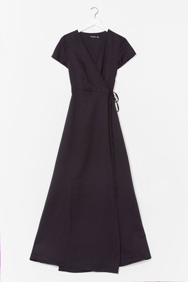 Nasty Gal Womens Let's Wrap This Up Belted Maxi Dress - Black - 6, Black
