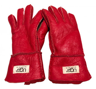 UGG Red Leather Gloves