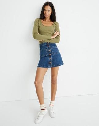 Madewell Stretch Denim A-Line Mini Skirt in Salisbury Wash: Patch Pocket Edition
