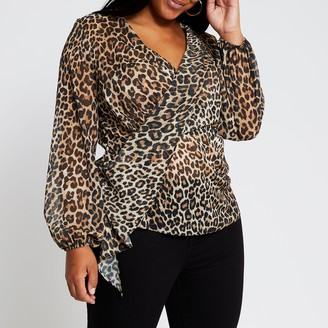 River Island Womens Plus Brown long sleeve printed drape blouse